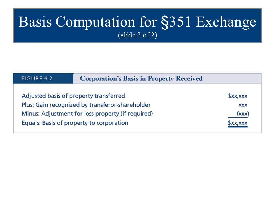Basis Computation for §351 Exchange (slide 2 of 2)