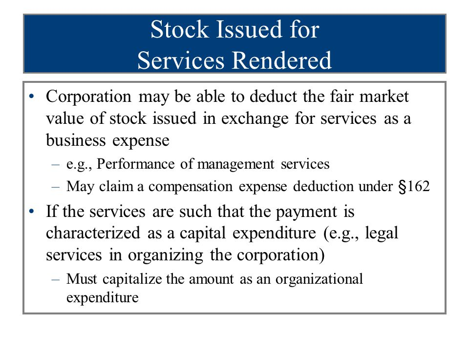 Stock Issued for Services Rendered