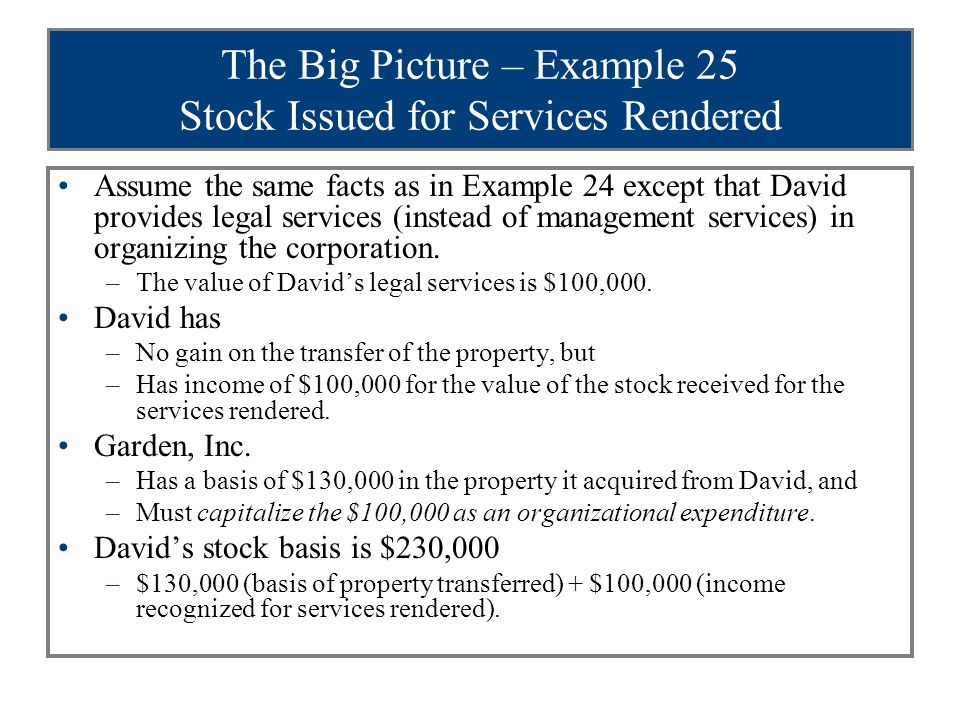 The Big Picture – Example 25 Stock Issued for Services Rendered