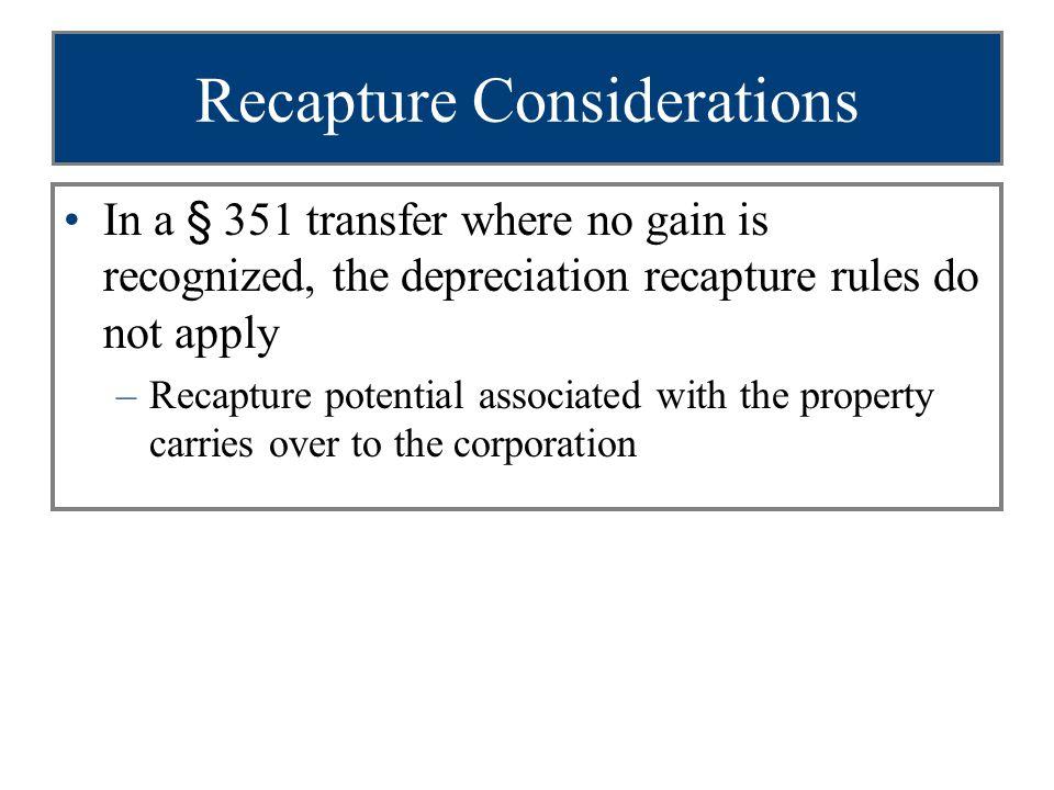Recapture Considerations