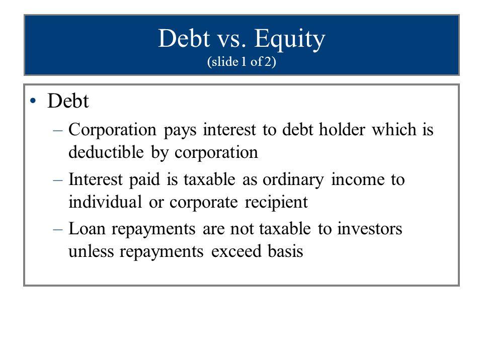 Debt vs. Equity (slide 1 of 2)