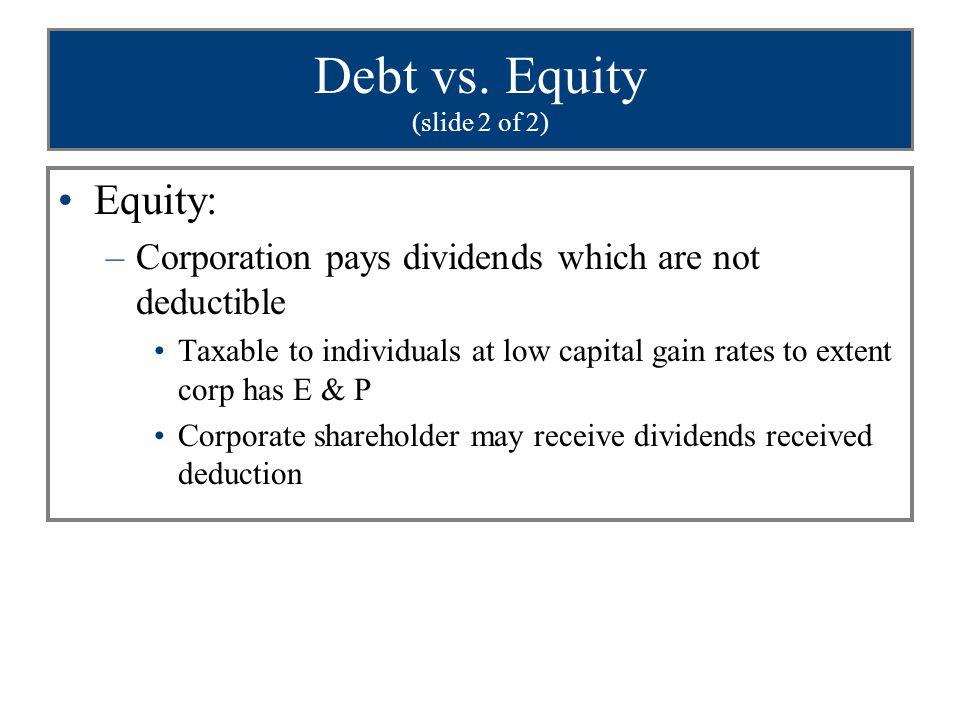 Debt vs. Equity (slide 2 of 2)
