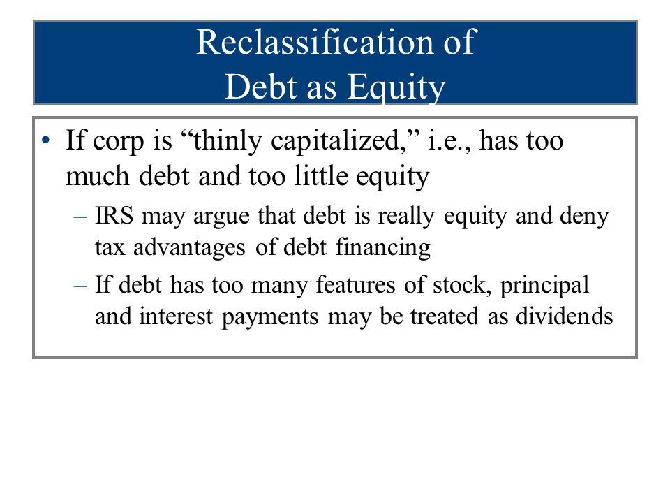 Reclassification of Debt as Equity