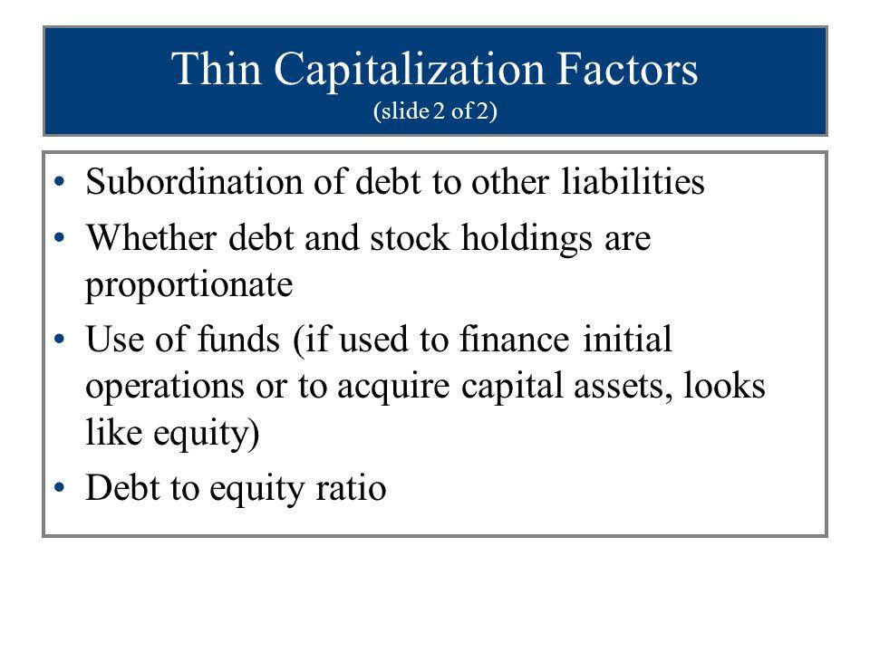 Thin Capitalization Factors (slide 2 of 2)
