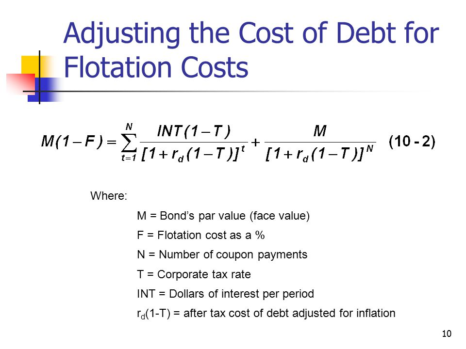 Adjusting the Cost of Debt for Flotation Costs