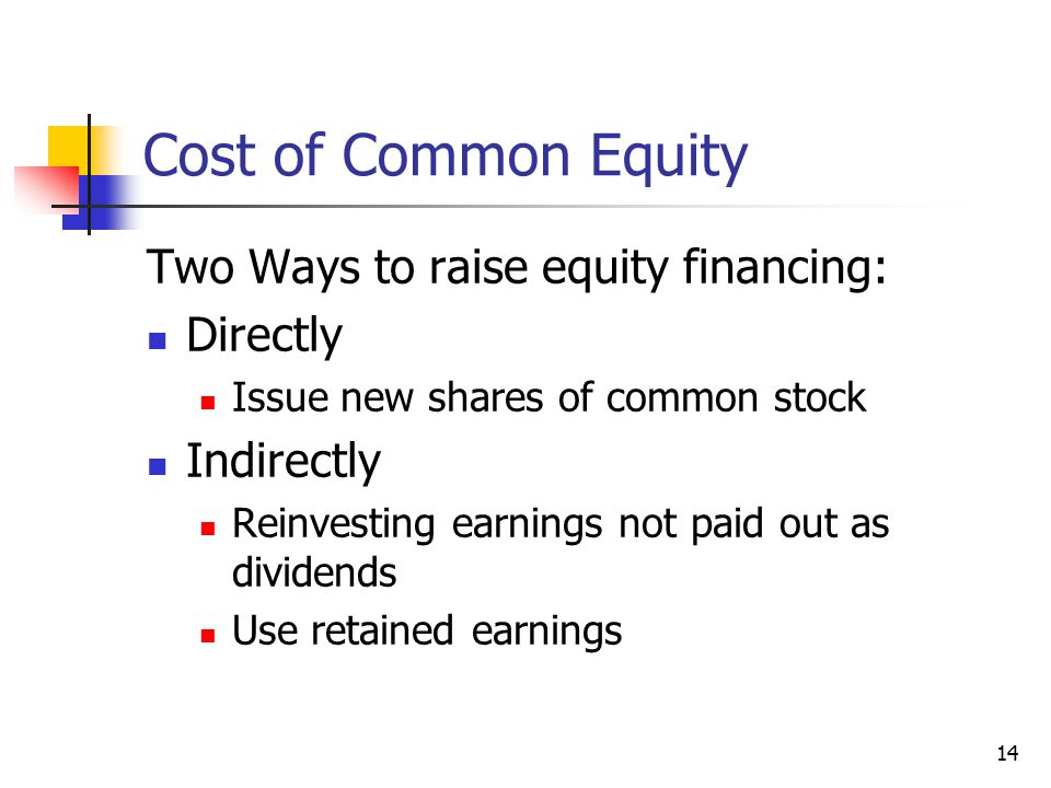 Cost of Common Equity Two Ways to raise equity financing: Directly