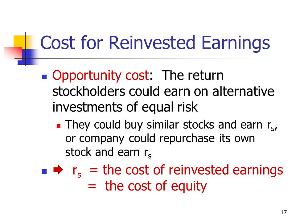 Cost for Reinvested Earnings