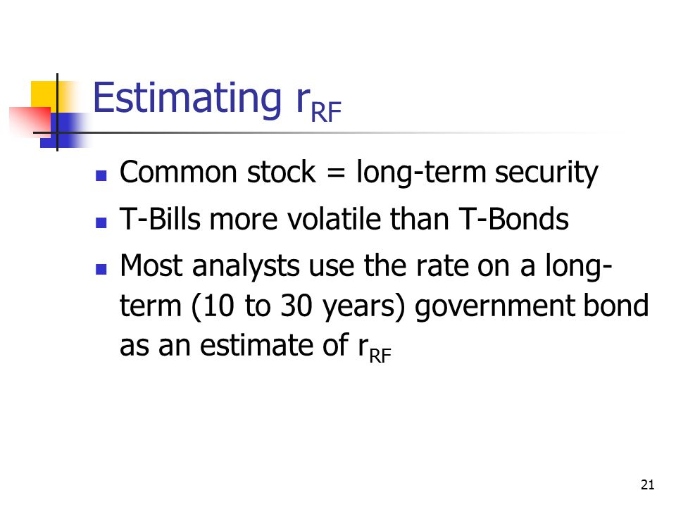 Estimating rRF Common stock = long-term security