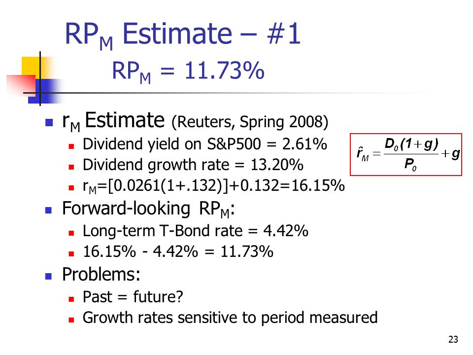 RPM Estimate – #1 RPM = 11.73% rM Estimate (Reuters, Spring 2008)