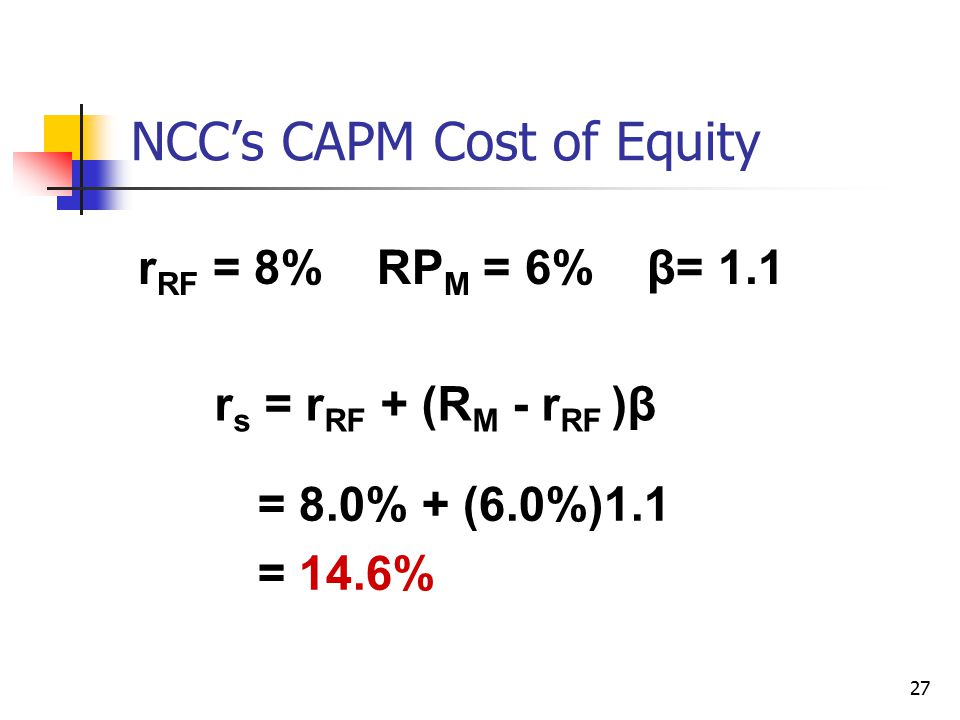 NCC's CAPM Cost of Equity