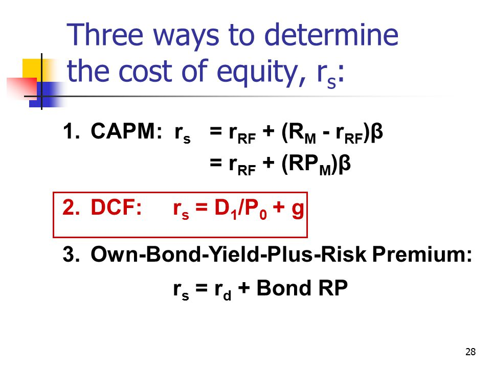 Three ways to determine the cost of equity, rs: