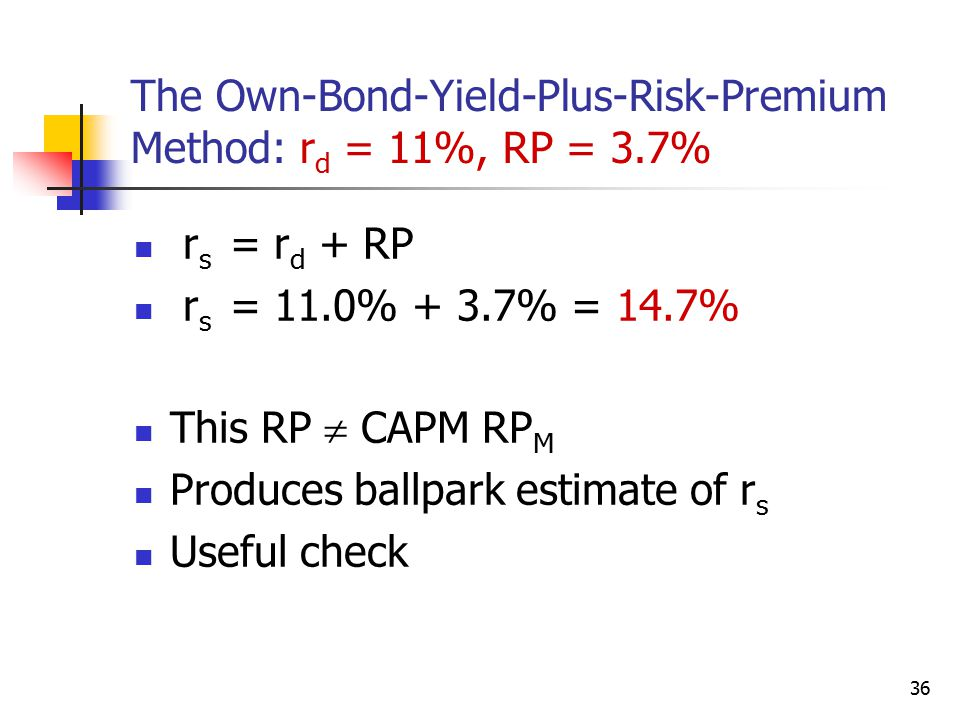 The Own-Bond-Yield-Plus-Risk-Premium Method: rd = 11%, RP = 3.7%