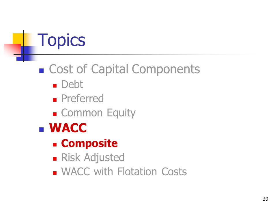 Topics Cost of Capital Components WACC Debt Preferred Common Equity