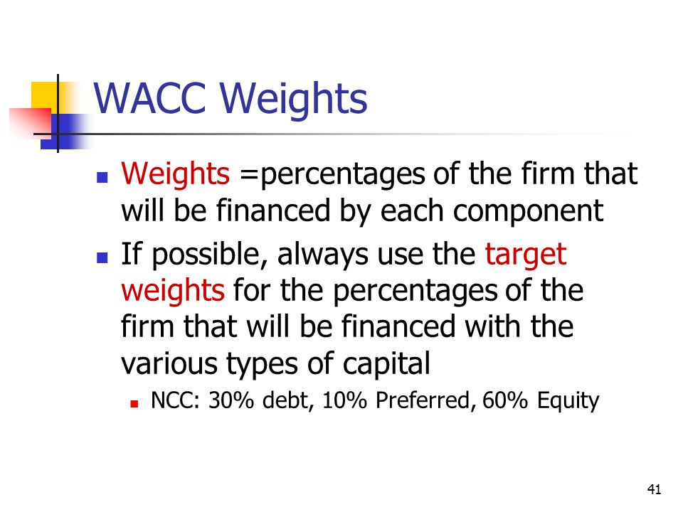 WACC Weights Weights =percentages of the firm that will be financed by each component.