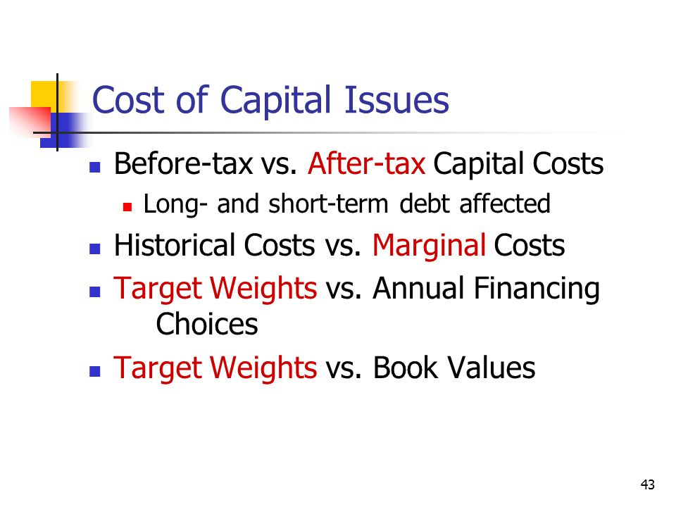 Cost of Capital Issues Before-tax vs. After-tax Capital Costs