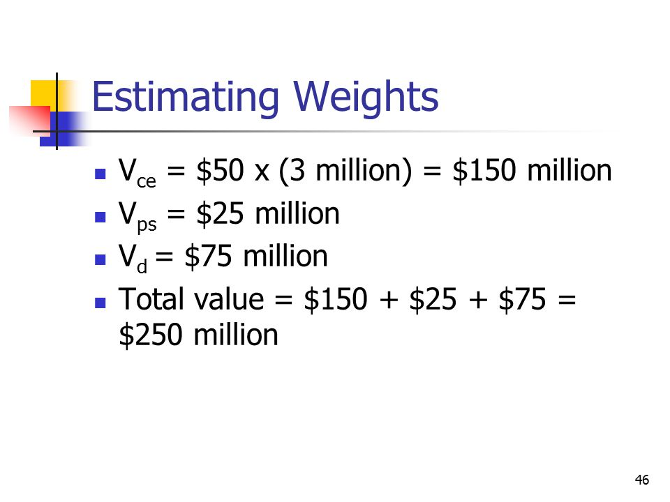 Estimating Weights Vce = $50 x (3 million) = $150 million