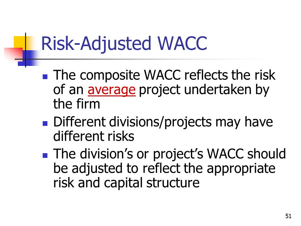 Risk-Adjusted WACC The composite WACC reflects the risk of an average project undertaken by the firm.