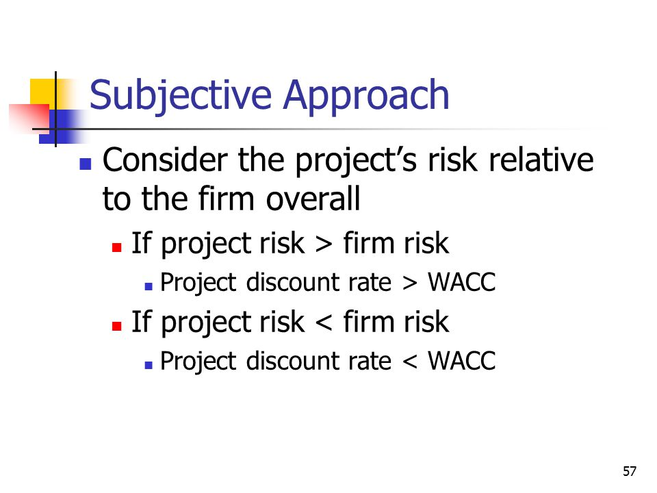 Subjective Approach Consider the project's risk relative to the firm overall. If project risk > firm risk.