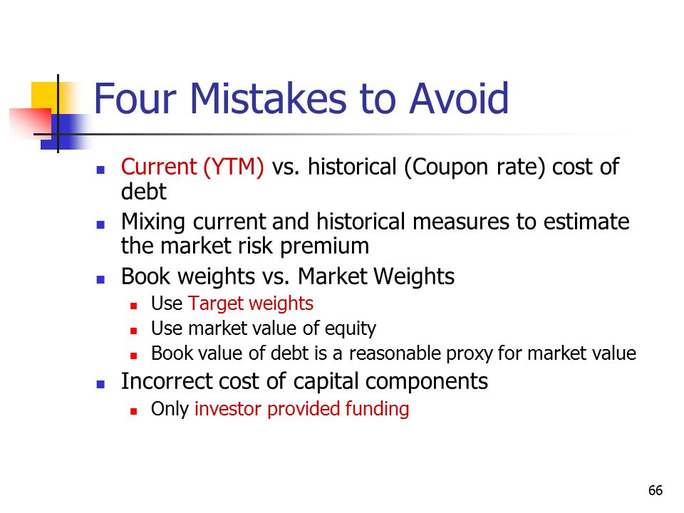 Four Mistakes to Avoid Current (YTM) vs. historical (Coupon rate) cost of debt.