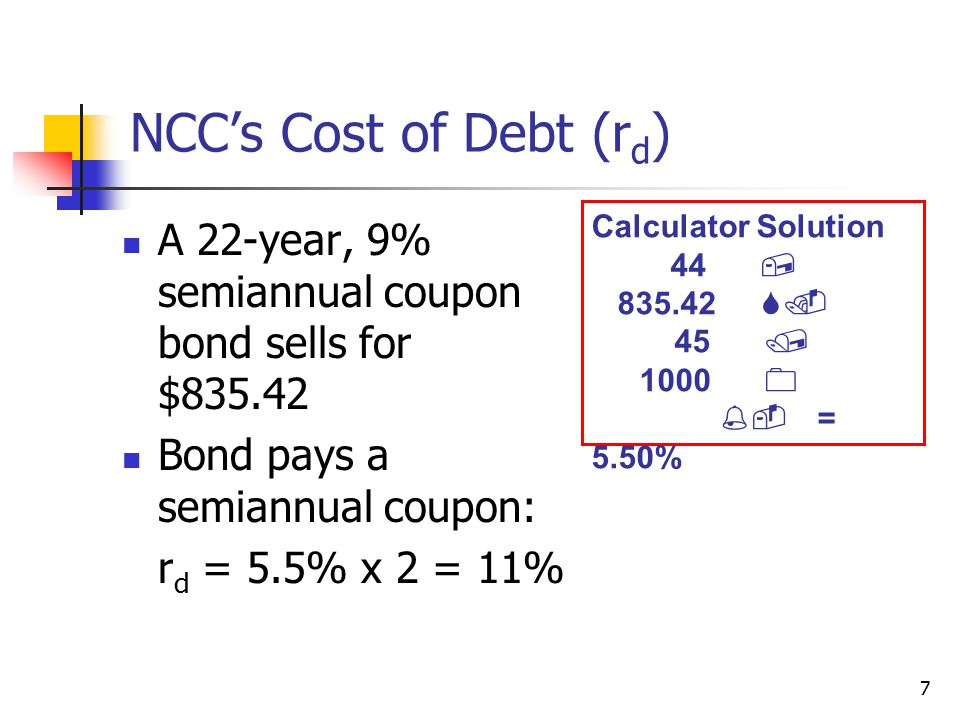 NCC's Cost of Debt (rd) Calculator Solution. 44 , 835.42 S. 45 / 1000 0. %- = 5.50%