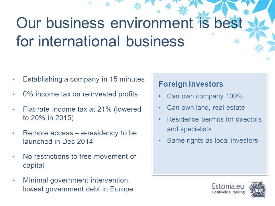Our business environment is best for international business