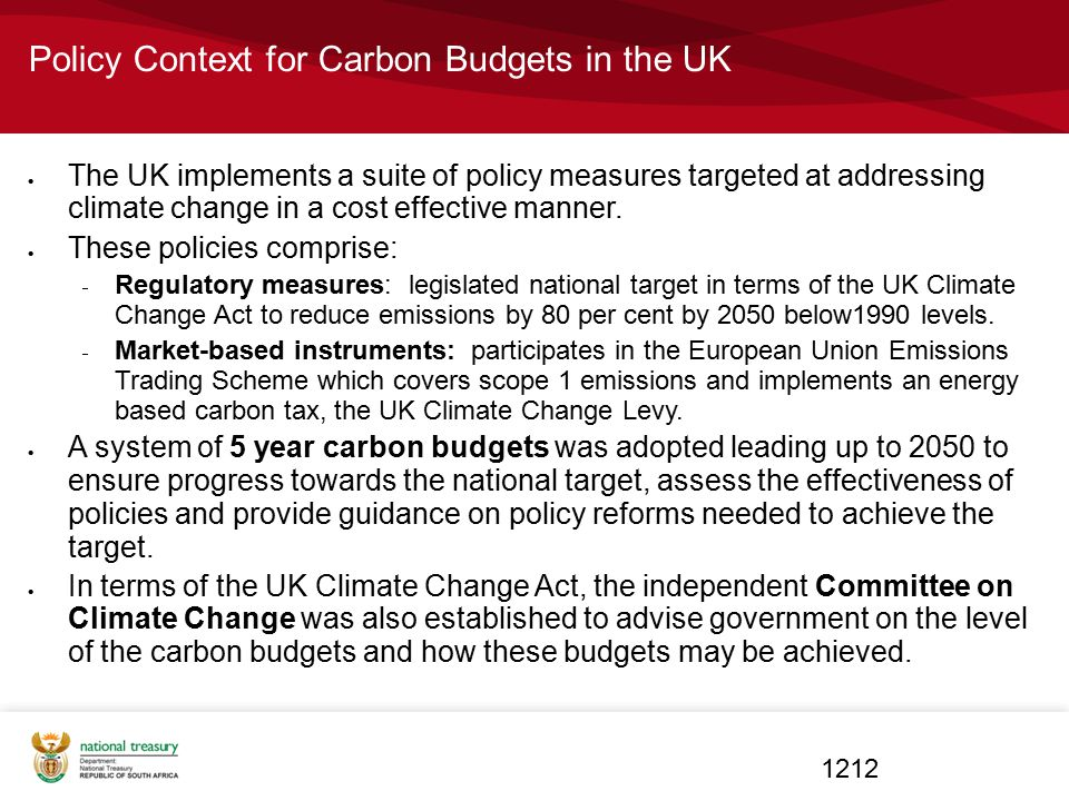 Policy Context for Carbon Budgets in the UK
