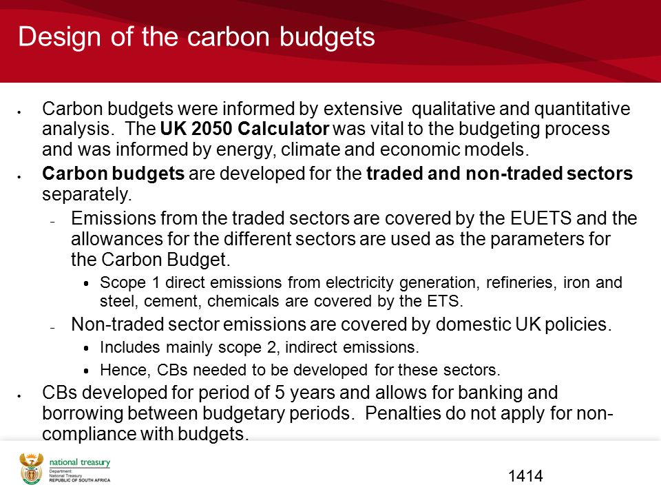 Design of the carbon budgets