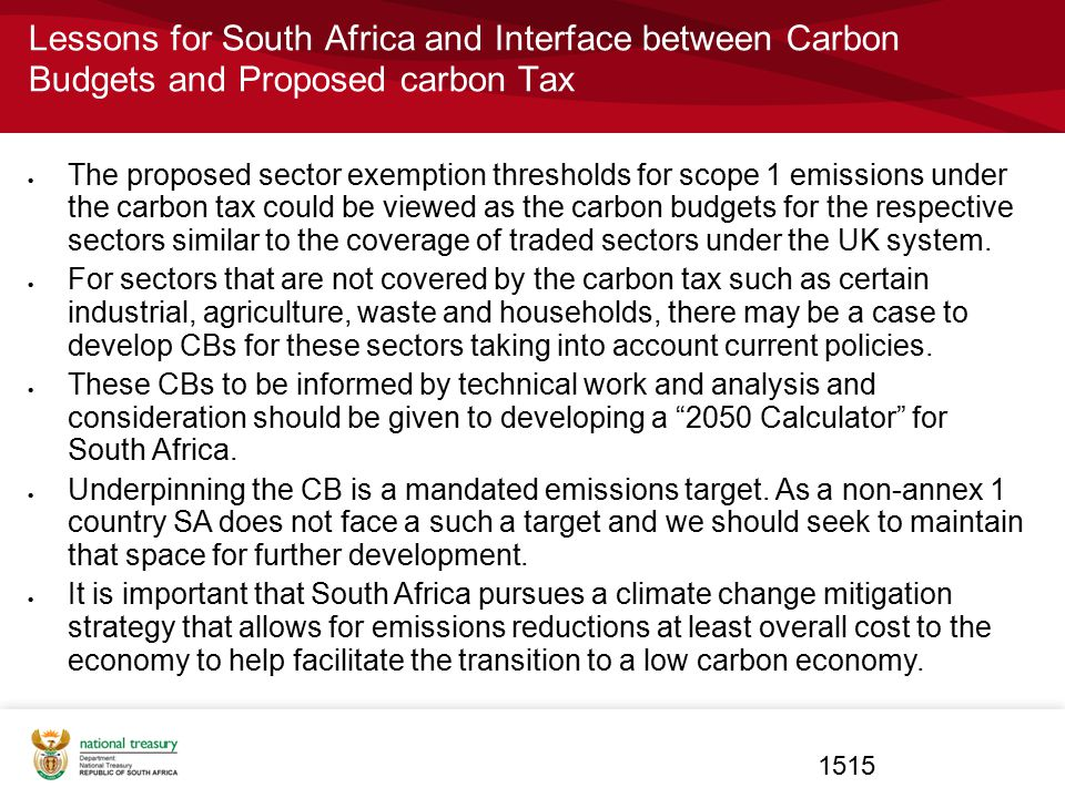 Lessons for South Africa and Interface between Carbon Budgets and Proposed carbon Tax