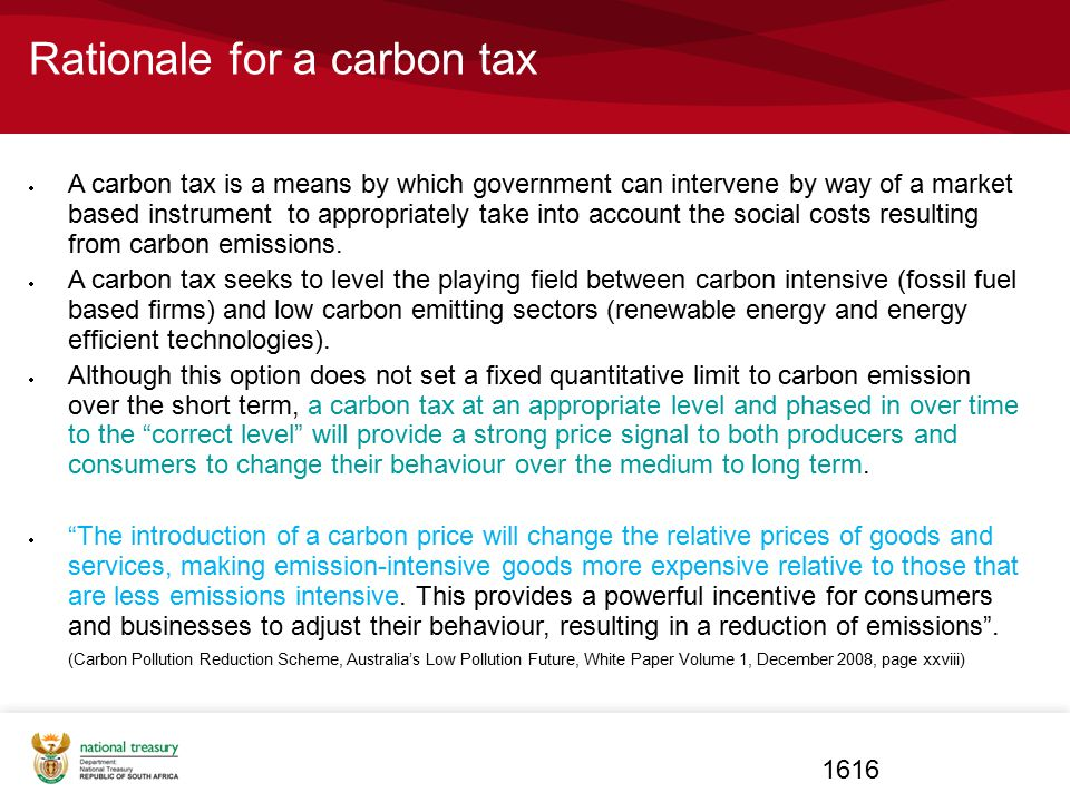 Rationale for a carbon tax