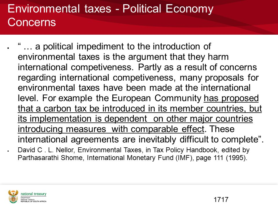 Environmental taxes - Political Economy Concerns