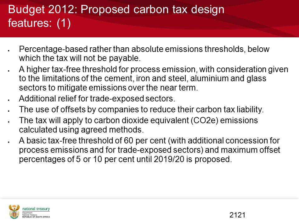 Budget 2012: Proposed carbon tax design features: (1)