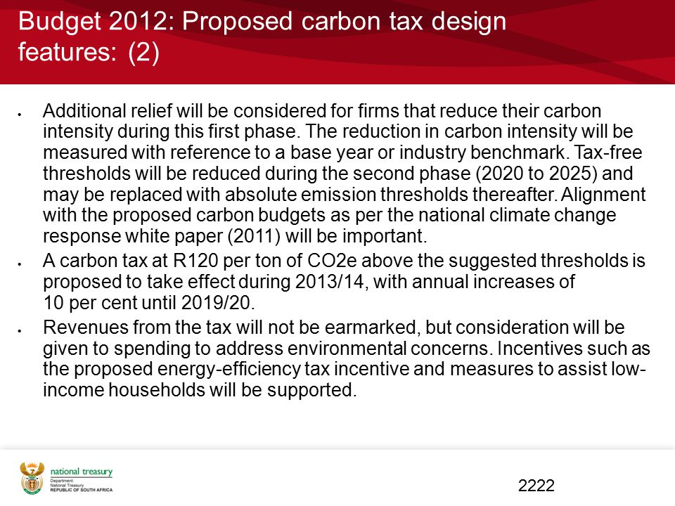 Budget 2012: Proposed carbon tax design features: (2)