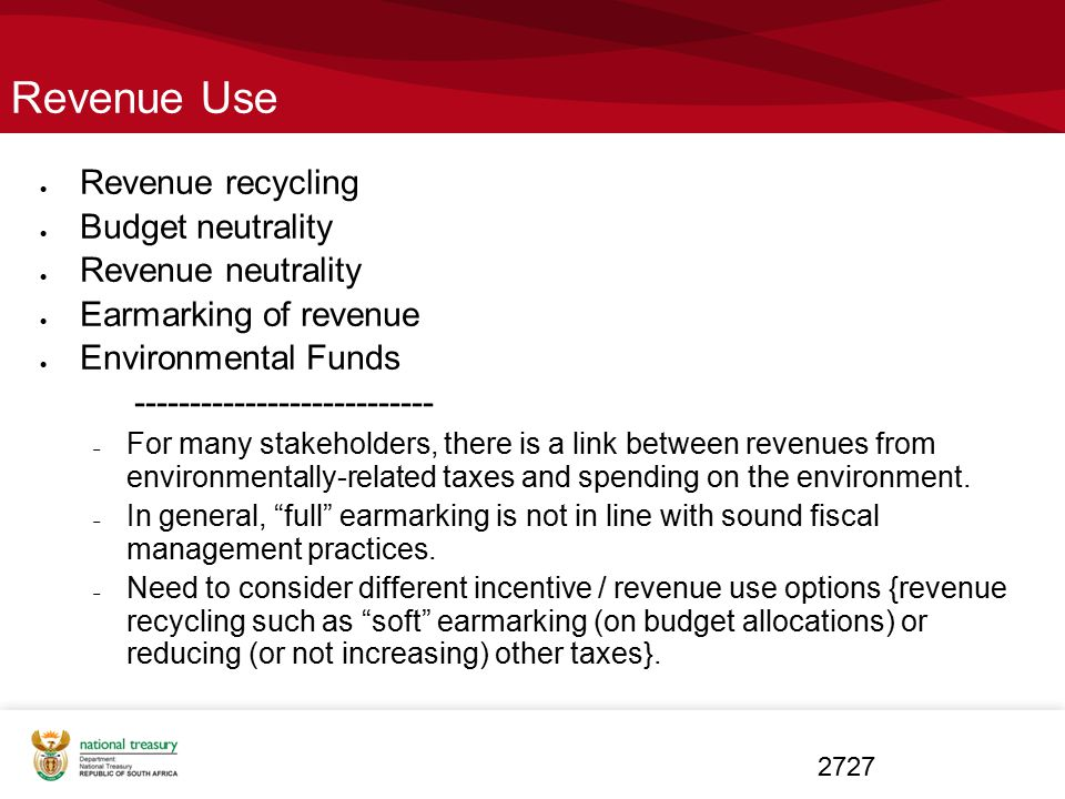 Revenue Use Revenue recycling Budget neutrality Revenue neutrality