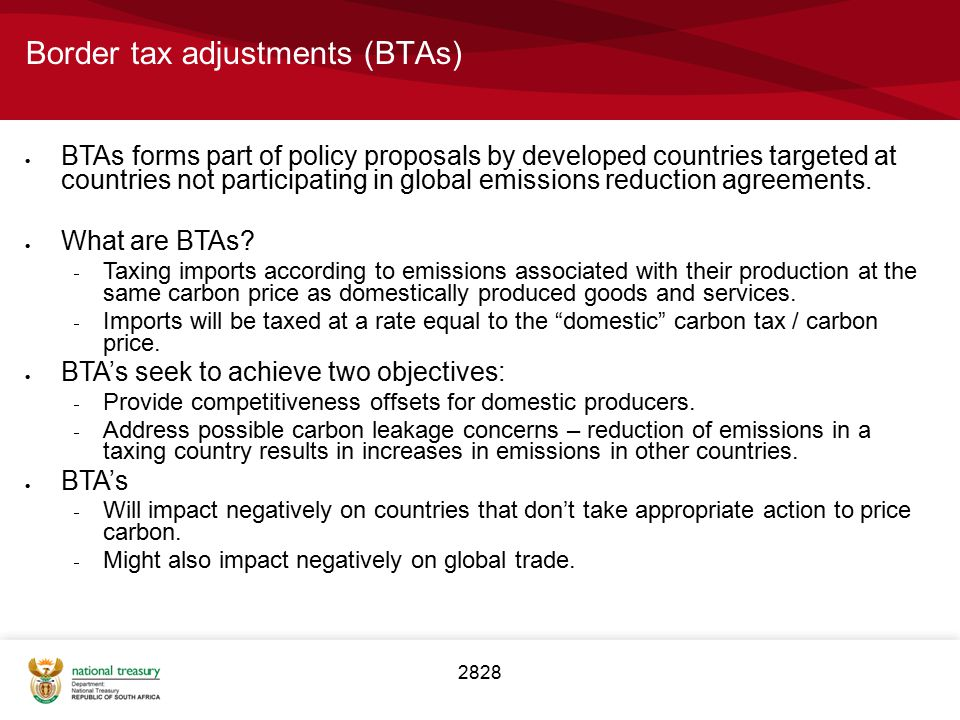 Border tax adjustments (BTAs)
