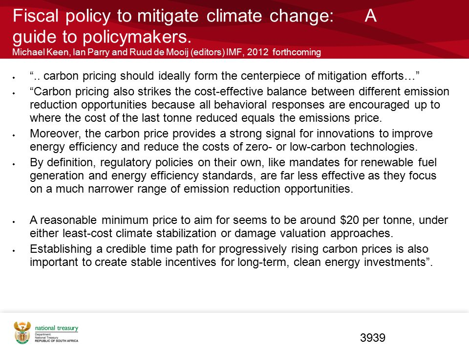 Fiscal policy to mitigate climate change: A guide to policymakers