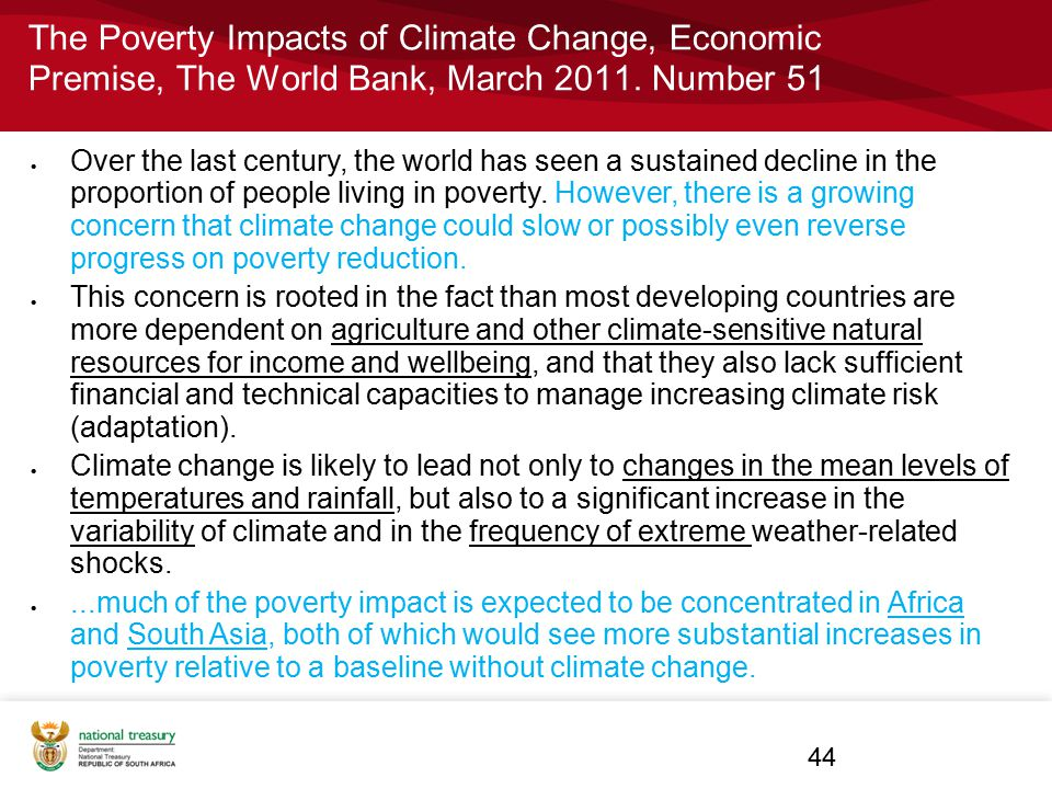 The Poverty Impacts of Climate Change, Economic Premise, The World Bank, March 2011. Number 51