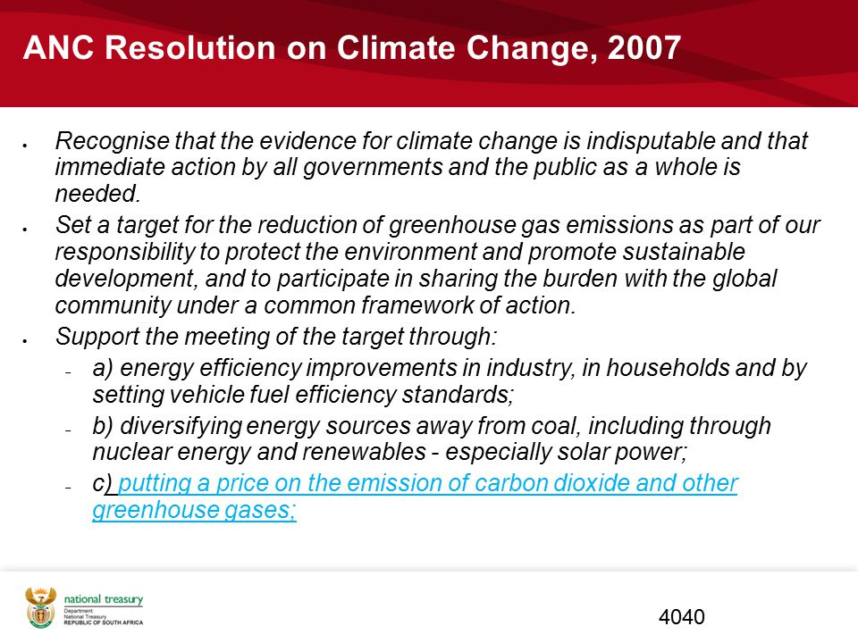 ANC Resolution on Climate Change, 2007