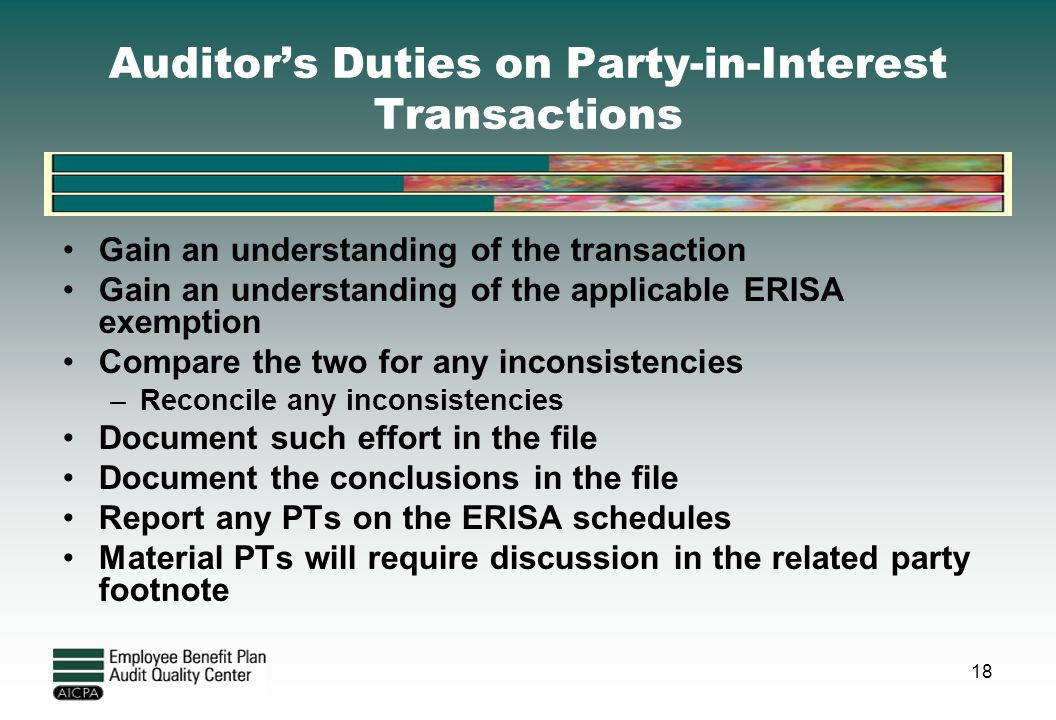 Auditor's Duties on Party-in-Interest Transactions
