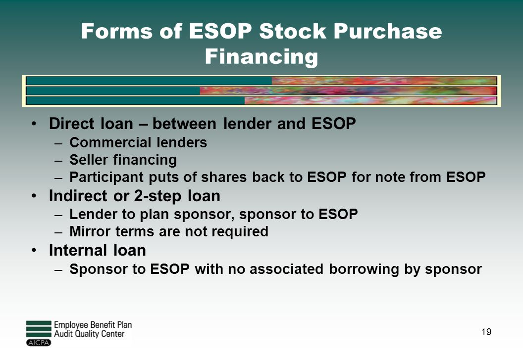 Forms of ESOP Stock Purchase Financing