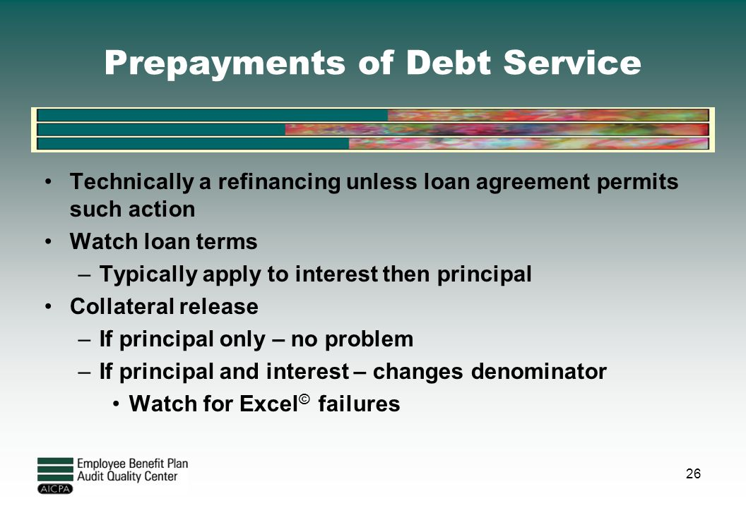 Prepayments of Debt Service