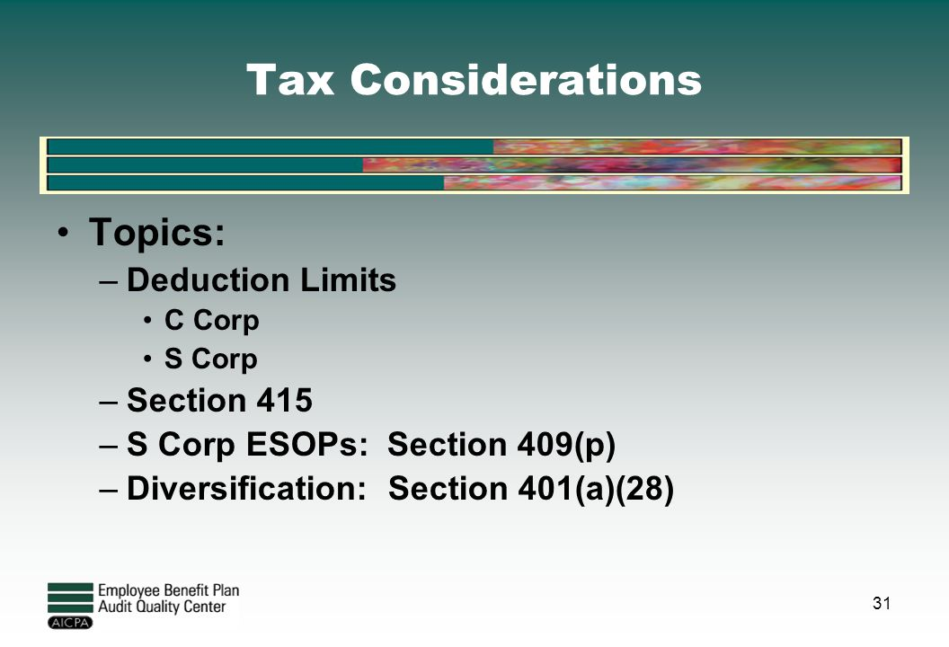 Tax Considerations Topics: Deduction Limits Section 415