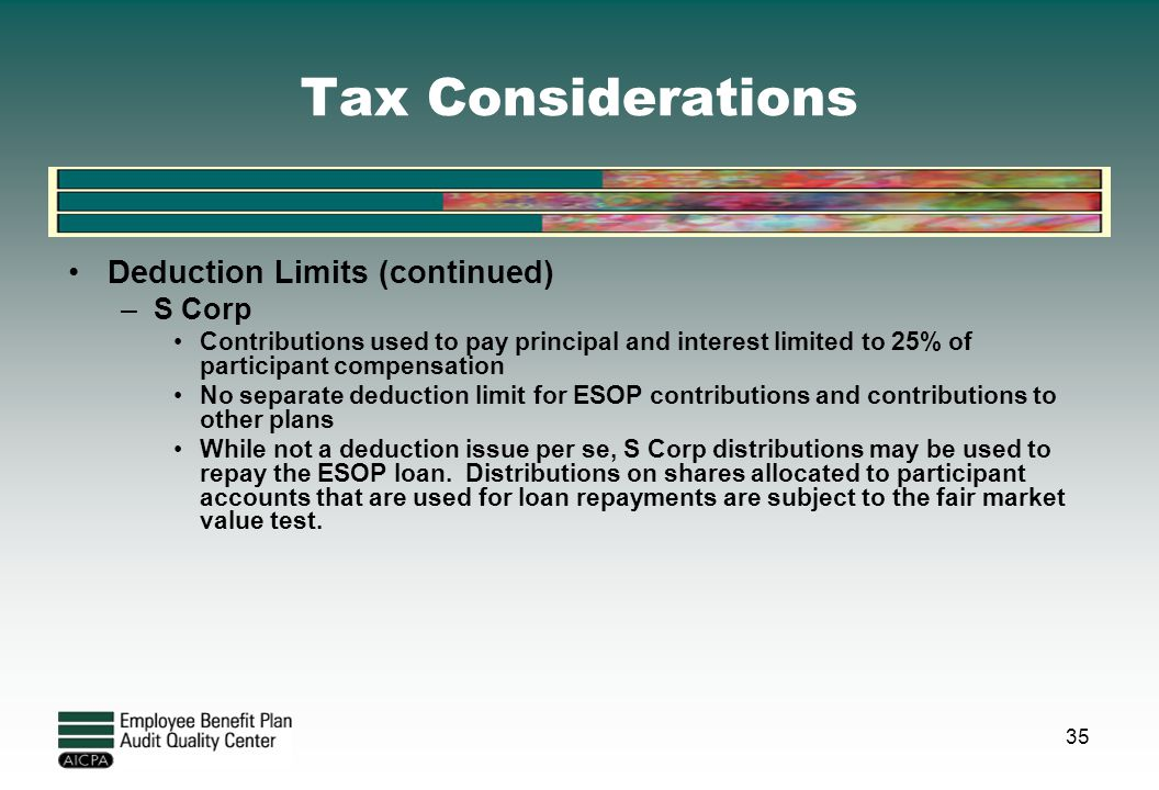 Tax Considerations Deduction Limits (continued) S Corp