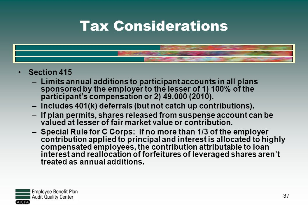 Tax Considerations Section 415