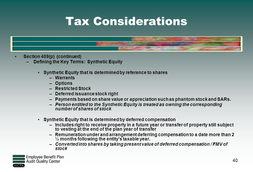 Tax Considerations Section 409(p) (continued)