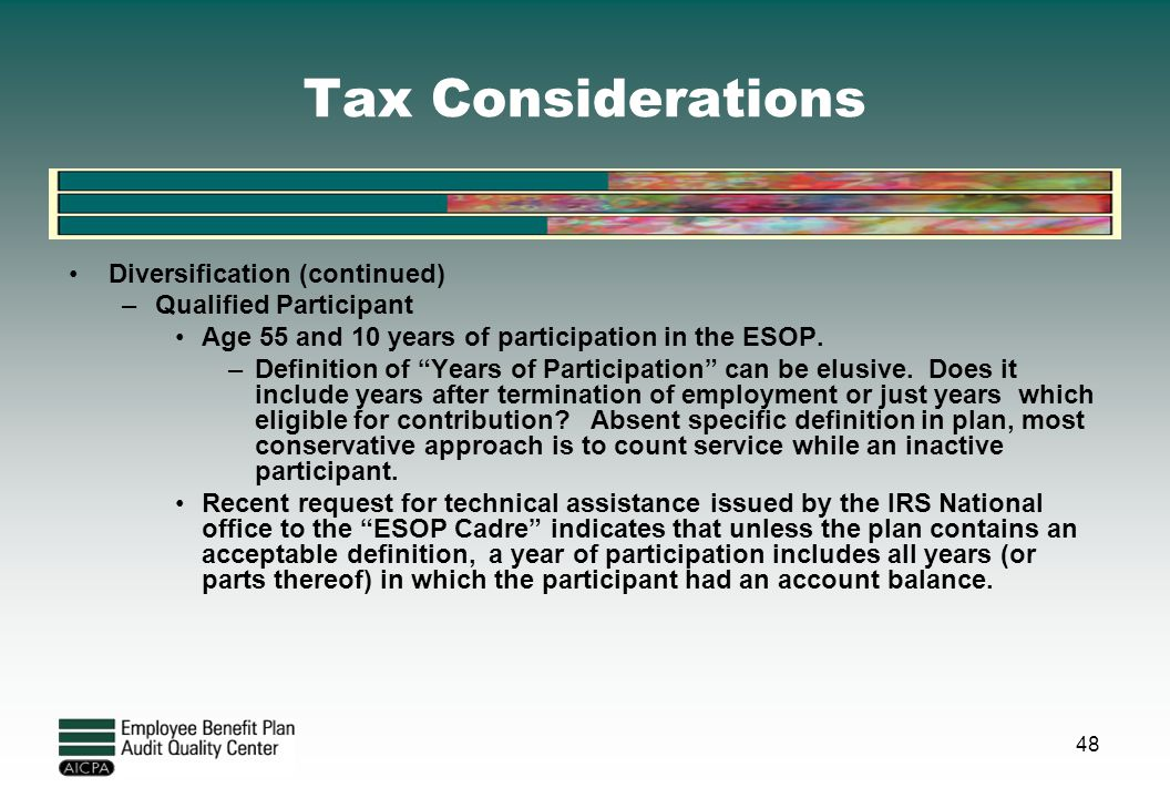 Tax Considerations Diversification (continued) Qualified Participant