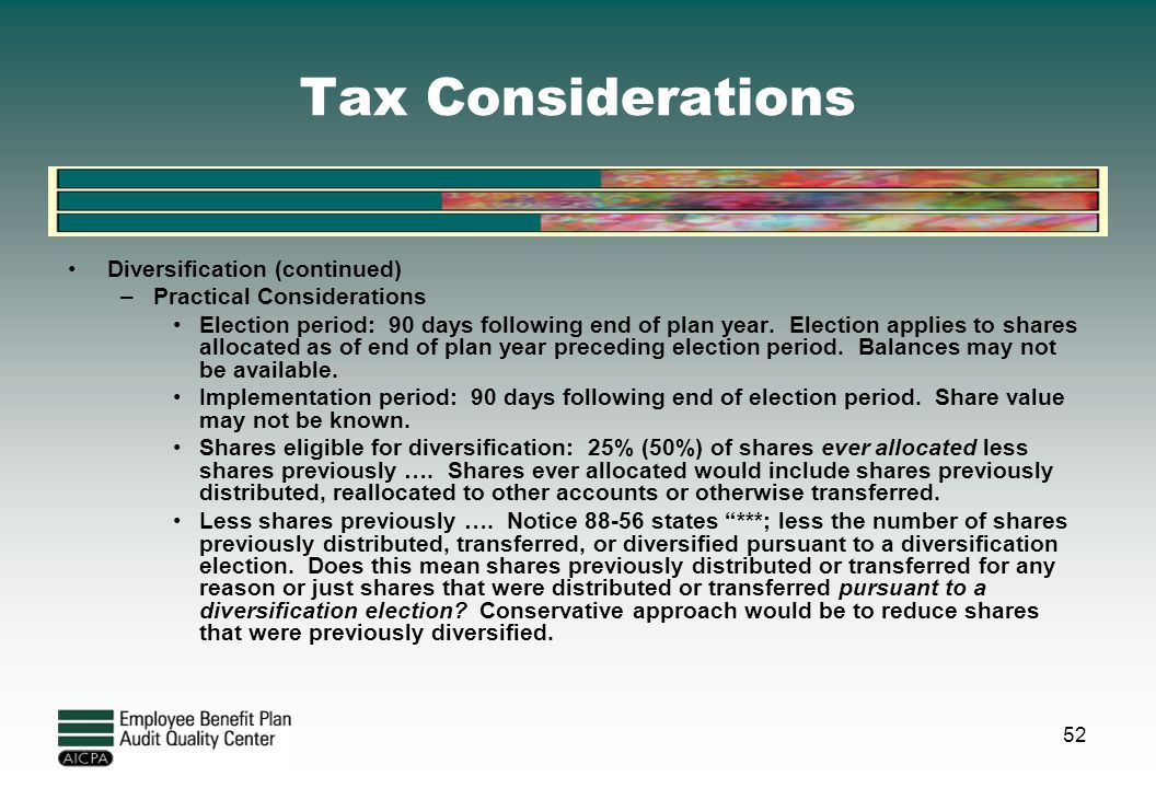 Tax Considerations Diversification (continued)