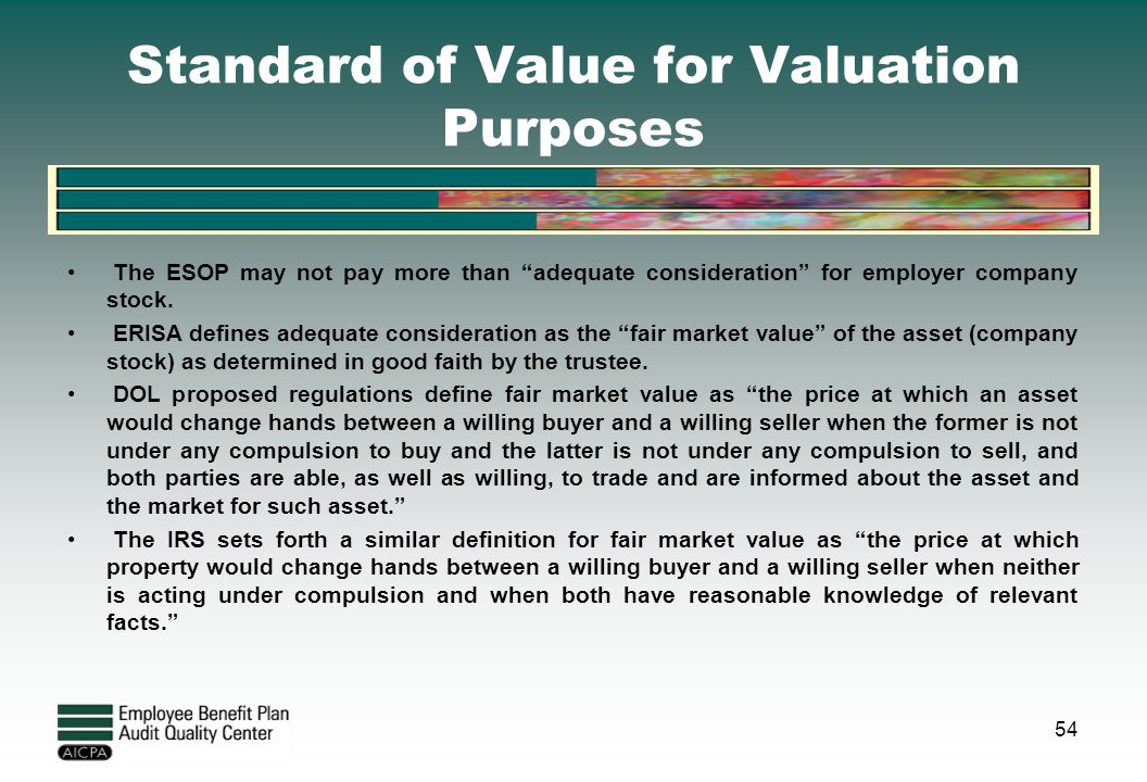 Standard of Value for Valuation Purposes