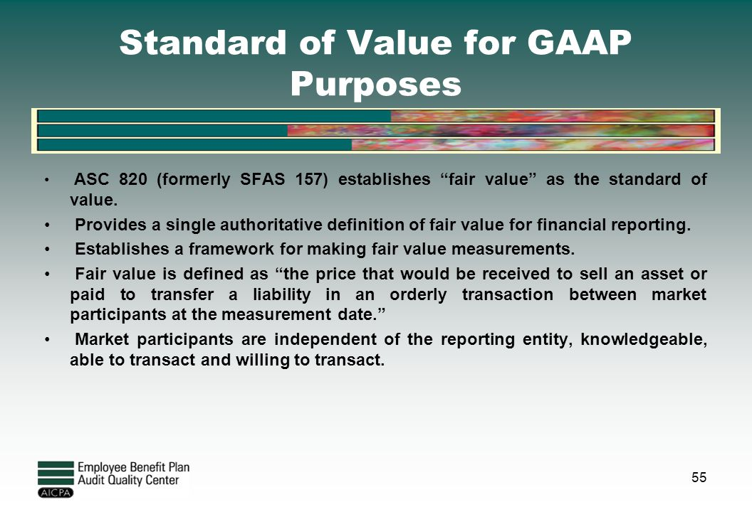 Standard of Value for GAAP Purposes