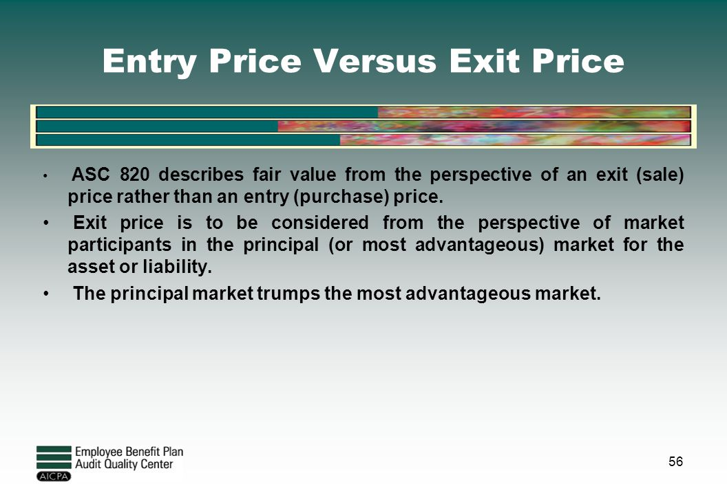 Entry Price Versus Exit Price