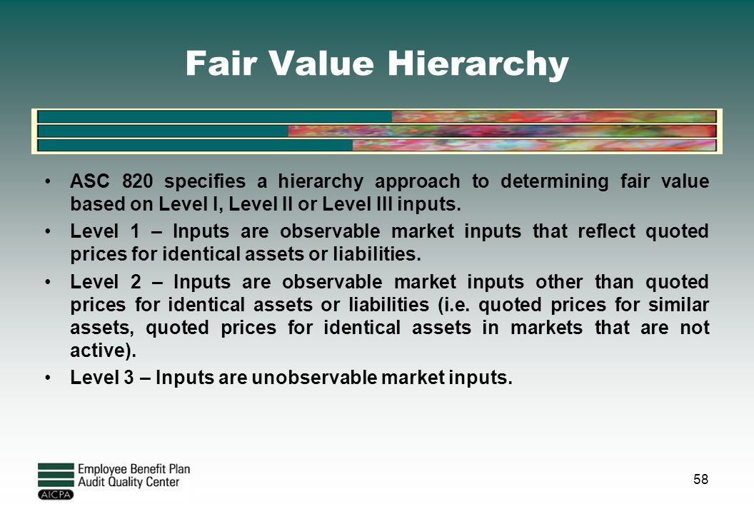 Fair Value Hierarchy ASC 820 specifies a hierarchy approach to determining fair value based on Level I, Level II or Level III inputs.